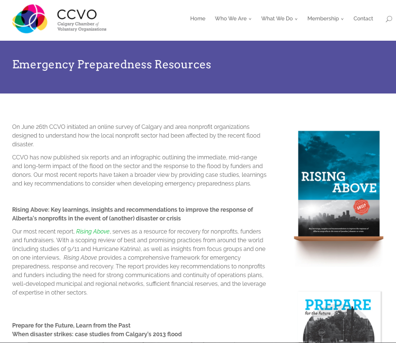 Calgary Chamber of Voluntary Organizations – Emergency Preparedness Resources