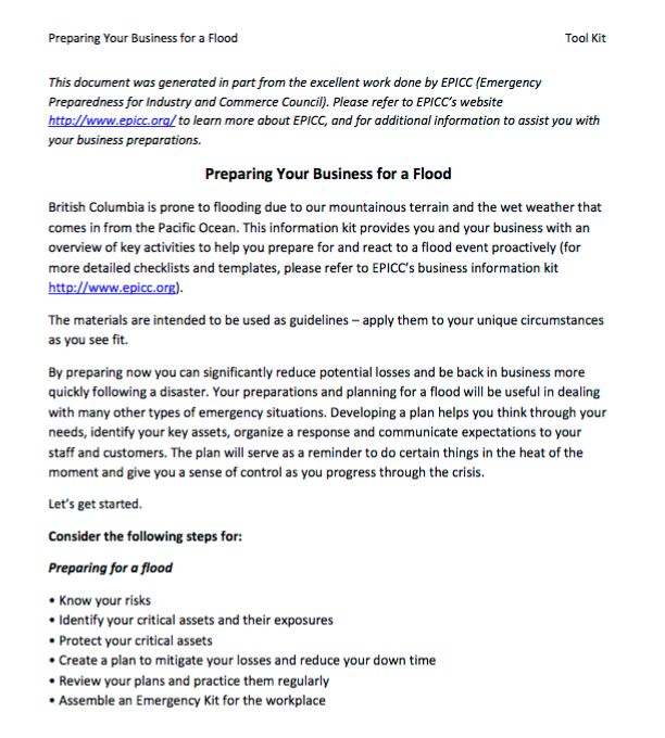 Government of British Columbia – Preparing Your Business for a Flood: Tool Kit