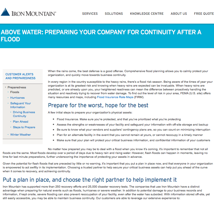 Iron Mountain – Above Water: Preparing Your Company for Continuity after a Flood