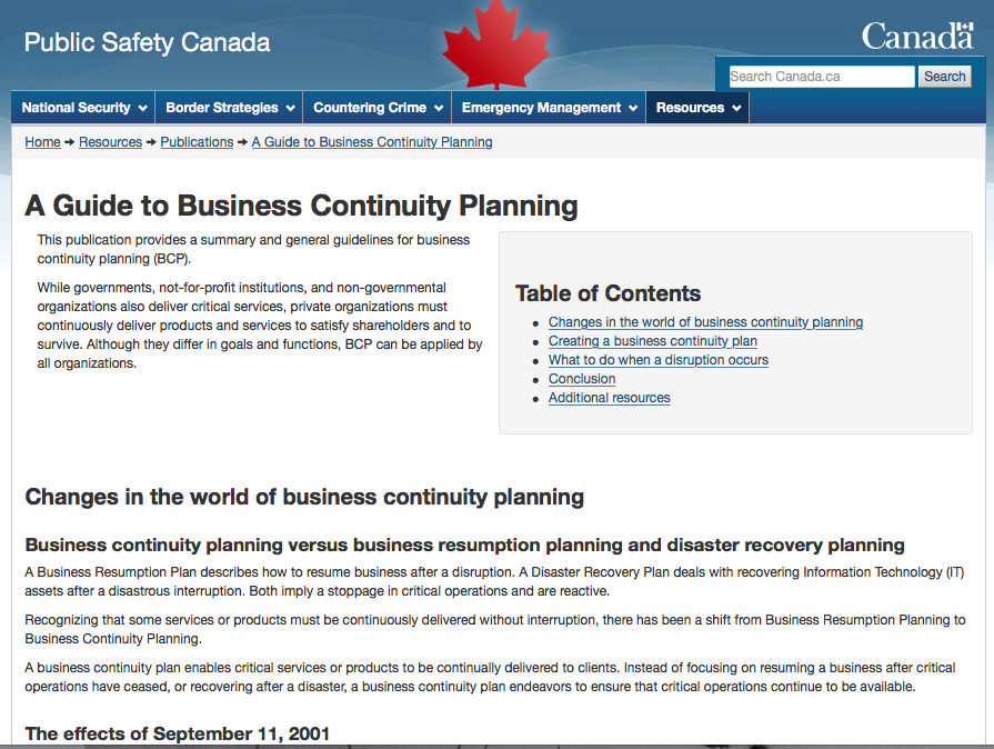 Public Safety Canada – A Guide to Business Continuity Planning